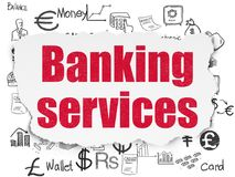 Money concept: Banking Services on Torn Paper background. Money concept: Painted red text Banking Services on Torn Paper background with  Hand Drawn Finance Royalty Free Stock Photography