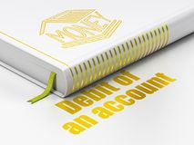 Money concept: book Money Box, Debit of An account on white background. Money concept: closed book with Gold Money Box icon and text Debit of An account on floor Royalty Free Stock Photos