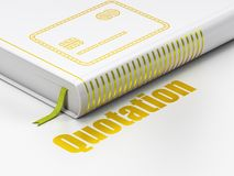 Money concept: book Credit Card, Quotation on white background. Money concept: closed book with Gold Credit Card icon and text Quotation on floor, white Stock Image
