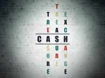 Money concept: Cash in Crossword Puzzle. Money concept: Painted black word Cash in solving Crossword Puzzle on Digital Data Paper background Stock Image
