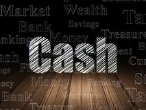 Money concept: Cash in grunge dark room. Money concept: Glowing text Cash in grunge dark room with Wooden Floor, black background with  Tag Cloud Stock Photography