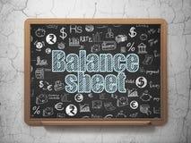 Money concept: Balance Sheet on School board background. Money concept: Chalk Blue text Balance Sheet on School board background with  Hand Drawn Finance Icons Royalty Free Stock Photo