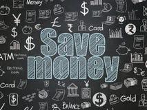 Money concept: Save Money on School board background. Money concept: Chalk Blue text Save Money on School board background with  Hand Drawn Finance Icons, School Royalty Free Stock Photos