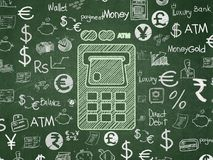 Money concept: ATM Machine on School board background. Money concept: Chalk Green ATM Machine icon on School board background with  Hand Drawn Finance Icons Royalty Free Stock Photos