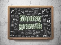 Money concept: Money Growth on School board background. Money concept: Chalk Green text Money Growth on School board background with  Hand Drawn Finance Icons Stock Photography