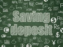 Money concept: Saving Deposit on School board background. Money concept: Chalk White text Saving Deposit on School board background with  Hand Drawn Finance Royalty Free Stock Photos