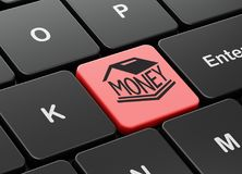 Money concept: Money Box on computer keyboard background. Money concept: computer keyboard with Money Box icon on enter button background, 3D rendering Royalty Free Stock Photo