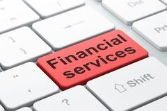 Money concept: Financial Services on computer keyboard background. Money concept: computer keyboard with word Financial Services, selected focus on enter button Stock Photography