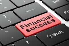 Money concept: Financial Success on computer keyboard background. Money concept: computer keyboard with word Financial Success, selected focus on enter button Stock Photography