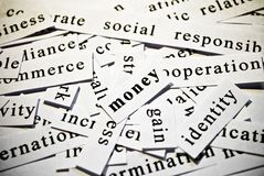 Money. Concept of cutout words related with business. Royalty Free Stock Photography