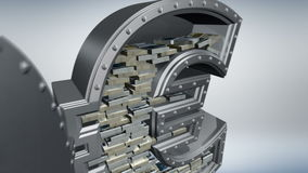 Money concept 3D. Banking safe in shape of euro with cash inside