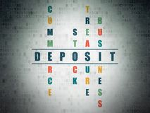 Money concept: Deposit in Crossword Puzzle. Money concept: Painted blue word Deposit in solving Crossword Puzzle on Digital Data Paper background Stock Photos