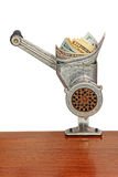 Money concept with dollar banknotes in meat grinder. Stock Photography