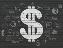 Money concept: Dollar on wall background. Money concept: Painted white Dollar icon on Black Brick wall background with Scheme Of Hand Drawn Finance Icons Stock Photo