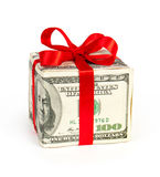 Money concept dollars in the form of a gift box Royalty Free Stock Image
