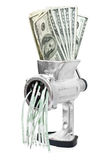 Money concept. Dollars are milled in meat grinder Stock Photography