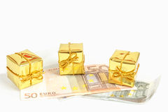 Money concept with euro banknotes for gifts Stock Photo