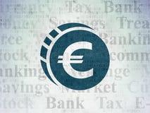 Money concept: Euro Coin on Digital Data Paper background Stock Photos