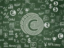 Money concept: Euro Coin on School board background. Money concept: Chalk White Euro Coin icon on School board background with  Hand Drawn Finance Icons, School Stock Photography