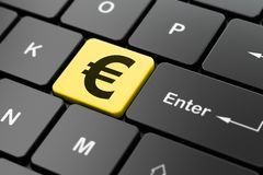 Money concept: Euro on computer keyboard background. Money concept: computer keyboard with Euro icon on enter button background, 3D rendering Royalty Free Stock Images