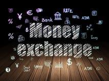 Money concept: Money Exchange in grunge dark room. Money concept: Glowing text Money Exchange,  Hand Drawn Finance Icons in grunge dark room with Wooden Floor Stock Photo