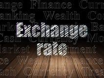 Money concept: Exchange Rate in grunge dark room. Money concept: Glowing text Exchange Rate in grunge dark room with Wooden Floor, black background with  Tag Stock Photo