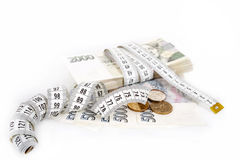 Money concept of expensive bill with measurement tape Stock Images