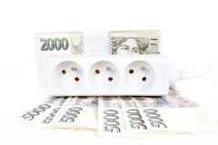 Money concept of expensive energy bill Stock Photos