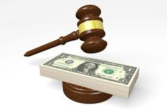 Money concept with a gavel. 3D clip-art with US dollars and gavel - great for topics like auction, law, finance, trial etc Royalty Free Stock Photo