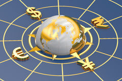 Money concept, global currencies. 3D rendering Stock Images
