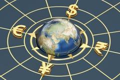 Money concept, global currencies. 3D rendering Stock Images