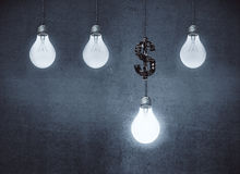 Money concept. Glowing lamps and dollar sign on concrete wall background. Money concept. 3D Rendering Stock Images