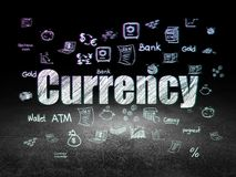 Money concept: Currency in grunge dark room. Money concept: Glowing text Currency,  Hand Drawn Finance Icons in grunge dark room with Dirty Floor, black Stock Photos