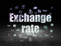 Money concept: Exchange Rate in grunge dark room. Money concept: Glowing text Exchange Rate,  Hand Drawn Finance Icons in grunge dark room with Dirty Floor Stock Images