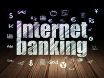 Money concept: Internet Banking in grunge dark room. Money concept: Glowing text Internet Banking,  Hand Drawn Finance Icons in grunge dark room with Wooden Stock Image