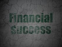 Money concept: Financial Success on grunge wall background. Money concept: Green Financial Success on grunge textured concrete wall background Royalty Free Stock Photo