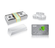 Money concept icon set. Dollar bill, silver coins, ingot, credit card Royalty Free Stock Image