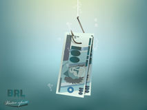 Money concept illustration, brazilian reals money paper on fish hook Stock Photos