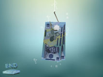 Money concept illustration, brunei dollars money paper on fish hook Royalty Free Stock Image