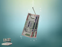 Money concept illustration, indian rupee money paper on fish hook Stock Photography