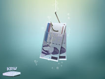 Money concept illustration, korean won money paper on fish hook Stock Image