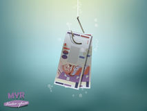 Money concept illustration, malaysian ringgit money paper on fish hook Stock Images