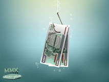 Money concept illustration, Myanmar kyat money paper on fish hook Stock Images