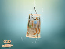 Money concept illustration, singapore dollars money paper on fish hook Royalty Free Stock Photos