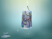 Money concept illustration,south african rand money paper on fish hook Royalty Free Stock Photo
