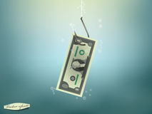 Money concept illustration, US Dollar money paper on fish hook Royalty Free Stock Photo