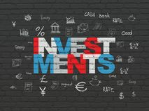 Money concept: Investments on wall background. Money concept: Painted multicolor text Investments on Black Brick wall background with  Hand Drawn Finance Icons Stock Image