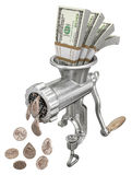 Money concept with meat grinder. On white background - 3D illustration Royalty Free Stock Photo