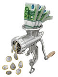 Money concept with meat grinder Stock Photography