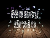 Money concept: Money Drain in grunge dark room. Money concept: Glowing text Money Drain,  Hand Drawn Finance Icons in grunge dark room with Wooden Floor, black Stock Photo